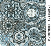 pattern with mandalas. vintage... | Shutterstock .eps vector #671360524