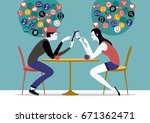 millennial couple sitting on a... | Shutterstock .eps vector #671362471