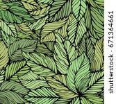 seamless leaves background.... | Shutterstock .eps vector #671364661