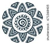 ethnic style hand drawn sun... | Shutterstock . vector #671368405