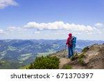 on summer bright day tourist... | Shutterstock . vector #671370397