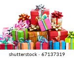 pile of colorful christmas... | Shutterstock . vector #67137319