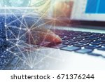 Small photo of Double exposure hand using computer to purchase, invest or sell online on network business and graph trading background