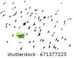 background flying birds. vector | Shutterstock .eps vector #671377225