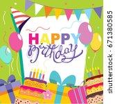 happy birthday vector card.... | Shutterstock .eps vector #671380585