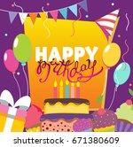happy birthday vector card.... | Shutterstock .eps vector #671380609