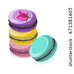 delicious macaroon colorful... | Shutterstock .eps vector #671381605