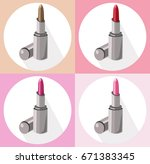 red lipstick icon set... | Shutterstock .eps vector #671383345