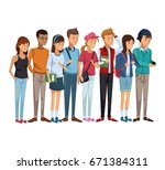colorful set group of students...   Shutterstock .eps vector #671384311