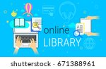 online library and electronic... | Shutterstock .eps vector #671388961