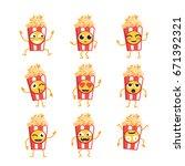 popcorn cartoon character  ... | Shutterstock .eps vector #671392321
