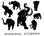 elephant set | Shutterstock .eps vector #671399599