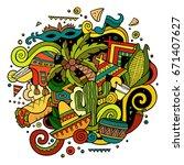 cartoon hand drawn doodles... | Shutterstock .eps vector #671407627