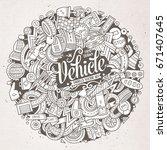 cartoon cute doodles hand drawn ... | Shutterstock .eps vector #671407645