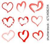 hand drawn hearts set | Shutterstock . vector #671408254