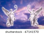 two angels archangels over beautiful sky - stock photo
