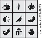 set of 9 editable fruits icons. ...