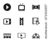 set of 9 editable cinema icons. ... | Shutterstock .eps vector #671422057