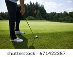 playing golf on a golf course   Shutterstock . vector #671422387