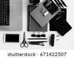 top view of office supplies ... | Shutterstock . vector #671422507