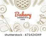 bakery frame illustration. hand ...   Shutterstock .eps vector #671424349