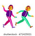 running girls in sportswear ... | Shutterstock .eps vector #671425021
