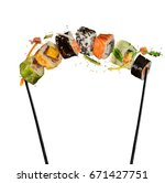 sushi pieces placed between... | Shutterstock . vector #671427751