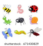 set of cartoon funny insects.... | Shutterstock .eps vector #671430829