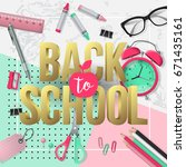 back to school banner design... | Shutterstock .eps vector #671435161