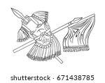 ancient warrior armor with pike ... | Shutterstock . vector #671438785