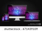 realistic computer  laptop ... | Shutterstock .eps vector #671439109