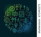 renewable energy sources green... | Shutterstock .eps vector #671442271