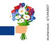 bouquet in businessman hand... | Shutterstock .eps vector #671443837