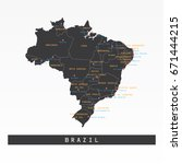 black map of brazil with region ... | Shutterstock .eps vector #671444215