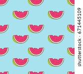vector seamless summer pattern...   Shutterstock .eps vector #671445109