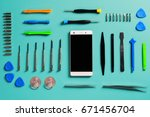 smartphone disassembly tools ... | Shutterstock . vector #671456704