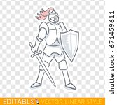 medieval knight icon. editable... | Shutterstock .eps vector #671459611