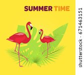 summertime. red flamingos with... | Shutterstock .eps vector #671463151