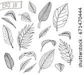 set palm leaves for pattern for ... | Shutterstock .eps vector #671470444