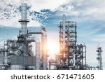 industrial view at oil refinery ... | Shutterstock . vector #671471605