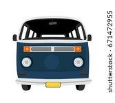van front view flat illustration | Shutterstock .eps vector #671472955