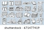 set of book doodle stickers | Shutterstock .eps vector #671477419