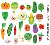 set of cute fruit and vegetable ... | Shutterstock .eps vector #671478841
