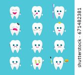 funny tooth emoji stickers. set ...   Shutterstock .eps vector #671482381