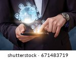 businessman working with their... | Shutterstock . vector #671483719