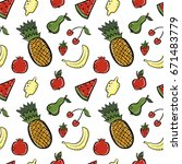 hand drawn fruits seamless... | Shutterstock .eps vector #671483779