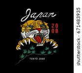 japan tiger vector embroidery  | Shutterstock .eps vector #671483935