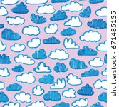 vector hand drawn clouds on...   Shutterstock .eps vector #671485135