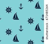 sailing ship. vector seamless...   Shutterstock .eps vector #671485264