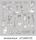 hand drawn garden set | Shutterstock .eps vector #671485729